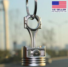 Piston Keychain Connecting Rod Car Engine Silver Metal 3D Keyring Key Chain Big