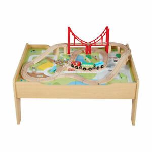 Wooden Train Railway Activity Track Set Play Table with Storage Drawer 56PC 2021
