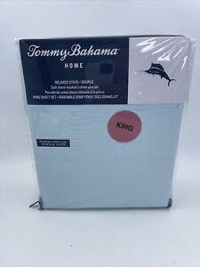 Tommy Bahama Relaxed State Aqua Blue Stone Washed 4 Pc King Sheet Set NWT