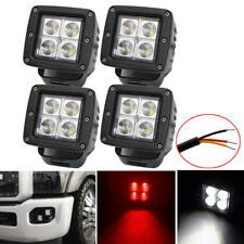 4X 3inch Red White Dual Colors Led Work Light Cube Pods Spot Beam 3 Wire Control