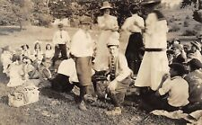 1910s RPPC Real Photo Postcard Fashion Women Boys Girls Having A Picnic Ohio
