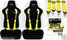 2 X TANAKA UNIVERSAL YELLOW 4 POINT BUCKLE RACING SEAT BELT HARNESS 2""