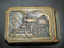 Vintage Tech Ether 1975 Solid Brass Railroad Belt Buckle Steam Engine Train