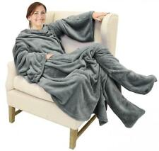Catalonia Wearable Fleece Blanket with Sleeves & Foot Pockets for Adult.