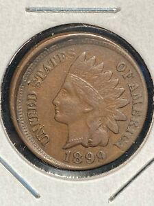 SHARP 1899 INDIAN HEAD CENT MINT ERROR IN XF- STRUCK 5% OFF CENTER @ K-5