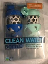 "New Aquasana Active ""The Clean Water Bottle"" 2 Pk Filter Water Bottles Blue Aqua"