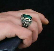 Sterling 925 Silver Handcraft Jewelry Ice Green Paraiba Tourmaline Men's Ring