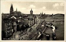 Köln am Rhein s/w Postkarte ~1920/30 Am Leystapel Anleger Straßenbahn Schiffe