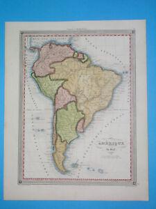 1838 ORIGINAL MAP SOUTH AMERICA BOLIVIA PERU ARGENTINA COLOMBIA BRAZIL PATAGONIA
