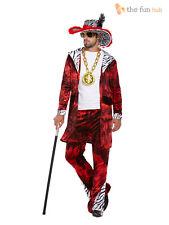Mens Pimp Fancy Dress Costume + Hat 1970s Retro Big Daddy Rapper Gangster Outfit