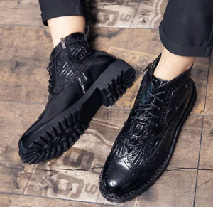 Mens Ankle Shoes Leather Shoes Casual Flat High-top Lace-up Plus Business Formal