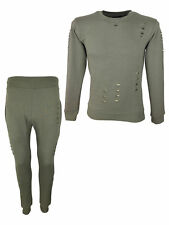 Mens DESTROYED LOOK King KOUTURE Slim Crew Neck Tracksuit in Olive L Large