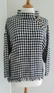 ZARA - NAVY/CREAM DOG TOOTH PATTERN CAPE - EUR: SMALL - EXCELLENT CONDITION
