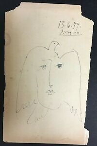 Vintage Picasso Original Art Drawing On Paper Signed And Dated 15.6.57