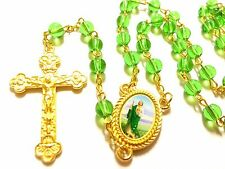 Rosary  Glass prayer beads rosary  - CATHOLIC Rosary Crucifix Necklace in green