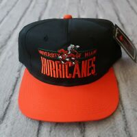 Vintage New Miami Hurricanes Snapback Hat Cap 90s Two Tone Florida