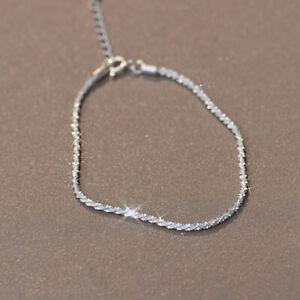 925 Silver Gypsophila Flash Chain Bracelet Bangle Women Adjustable Jewelry Gifts