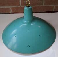 Vintage Enamel Pendant Lamp Shade Aqua Metal Hanging Light Mid Century Modern