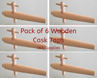 "Pack of 6 Wooden Barrel Taps / Cask Ale Taps 8"" Hardwood Spigot, Beer Festival"