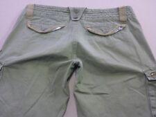 068 WOMENS EX-COND ROXY WIDE LEG STR8 KHAKI FADE CARGO PANTS SZE12 $110 RRP.