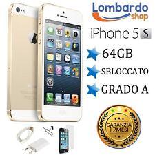 APPLE IPHONE 5S 64GB GRADO A ORO GOLD ORIGINALE RIGENERATO RICONDIZIONATO USATO