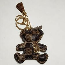 Designer inspired Teddy  Bear Checkered Tassel KeyChain Bag Charm  keychain