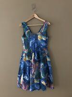 Bea & Dot Modcloth Marble Swirl Fit and Flare Sleeveless Blue Dress sz M