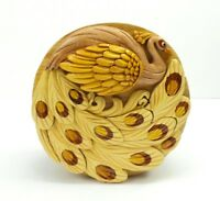 Peacock Wood Puzzle Box Handmade Keepsake Jewelry Trinket Decorative Box