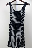 Mossimo Cotton Blend Stretch Black & White Striped Fit & Flare Dress Size Medium
