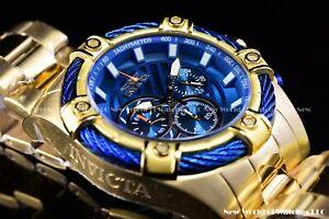 Invicta Men 52mm Classic Bolt Blue Gold Chronograph Quartz Stainless Steel Watch