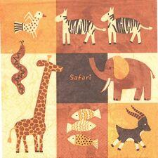 2 Serviettes en papier Afrique Safari Girafe Zèbre Paper Napkins Giraffe Zebra