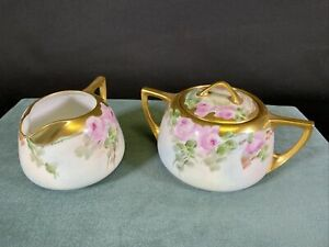 Vintage Creamer Pitcher & Lidded Sugar Bowl Signed Bottom Floral Gold Trim