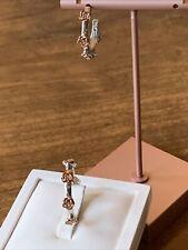 Rose Flower J Hoop Earrings in Rose Gold and Platinum Plated 925 Sterling Silver