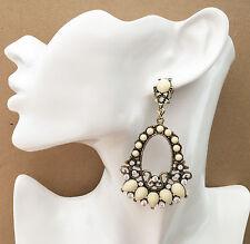 Stunning Cream Filigree Hoop Drop Earrings Diamante in Antiqued Gold Tone