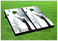 Duck Hunting Cornhole Beanbag Toss Game w Bags Game Board Gun Black Set 676