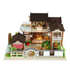 DIY Wood Dollhouse Ancient Architecture Light Miniature Furniture Kits Xmas Gift