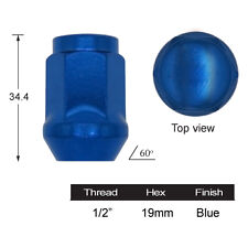 FORD FALCON BLUE MAG WHEEL NUT 1/2 inch UNF  19mm HEX , 36mm LONG