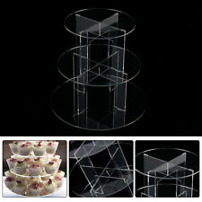 Clear Acrylic Round Cupcake Stand Display Wedding&Party 3 Tier Cup Cake Holder