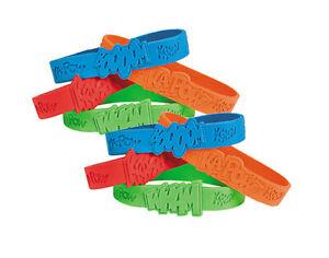12 Superhero Rubber Bracelet Party Bag Fillers for Kids