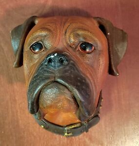 Vintage Boxer Head Bossons Chalkware Wall Hanging England Brown Dog 1968