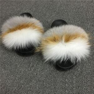 Luxury vogue Fluffy Real Fox/Raccoon Fur Women Slippers Shoes Flat Slides Sandal