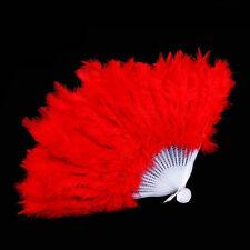 Burlesque Showgirl Dance Fancy Costume Folding Feather Hand Fan Wedding Gif OC Red