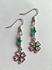 Funky 4 leaf clover shamrock Lucky Drop Earrings Silver Plated  Hooks Gift Bag