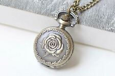 Watch Necklace Set of 1 A2071 Antique Bronze Rose Flower Small Pocket
