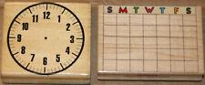 LOT 2 wood mounted CLOCK rubber stamps MONTHLY CALENDAR school TEACHER year (U)