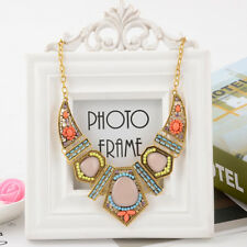Colourful Resin Geometic Statement Chunky Choker Gold Chain Necklace Jewellery