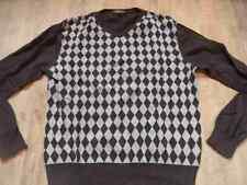 INSCENE cooler Pullover im Rautenmuster braun grau Gr. L TOP MS517