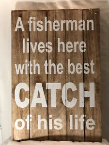 Valentines Day Fishing nautical decor gifts For Men Funny Wall Sign
