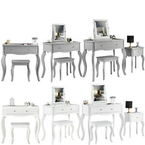 Sorrento Modern Dressing Table Side Table Jewellery Cabinet LED Mirror Stool Set