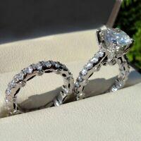 Certified 3.00CT Round White Diamond Engagement Wedding Ring Set 14K White Gold